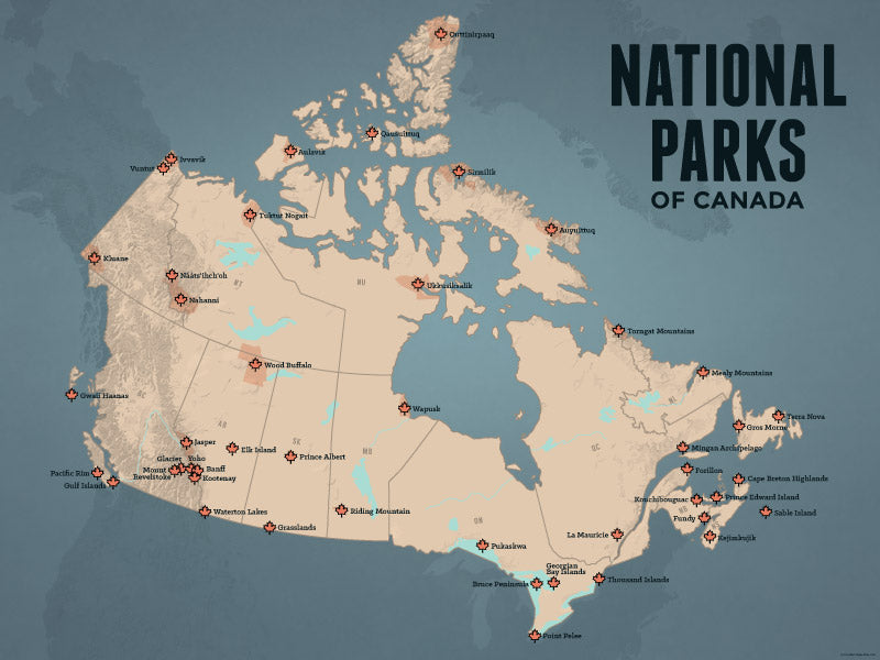Canada National Parks map poster - tan & slate blue