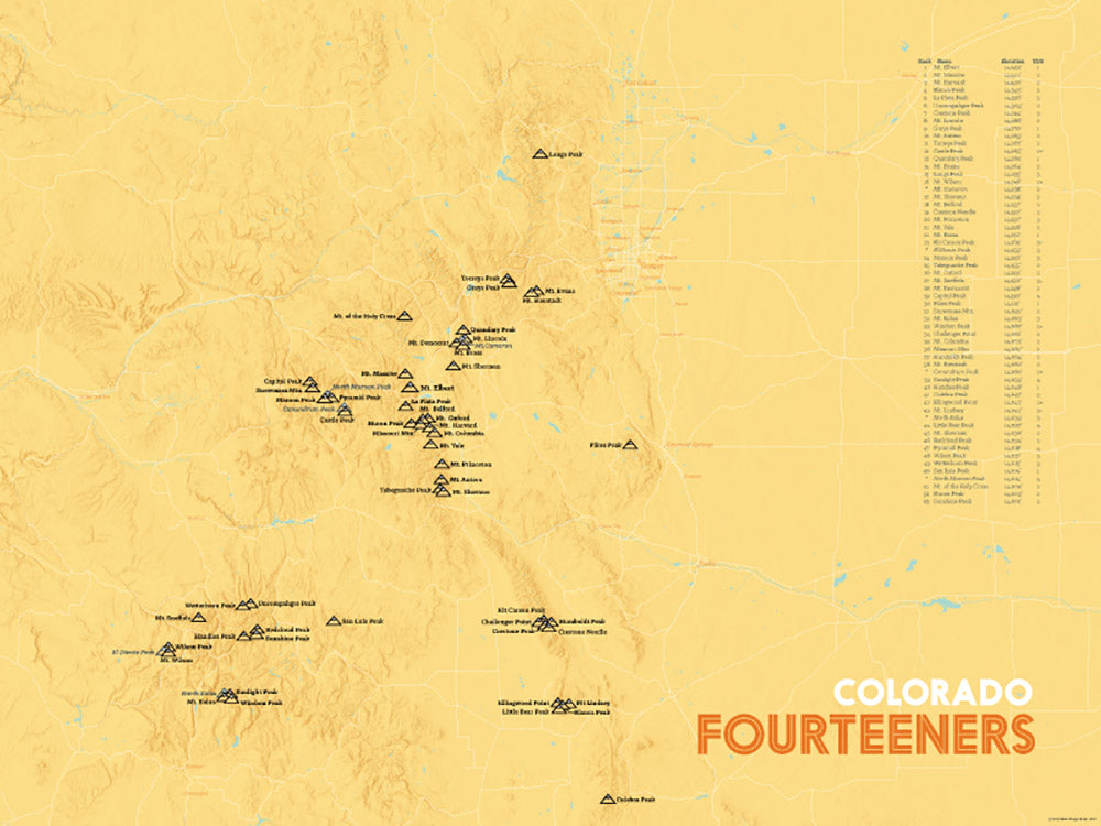 Colorado Fourteeners 14ers Map Poster - yellow orange