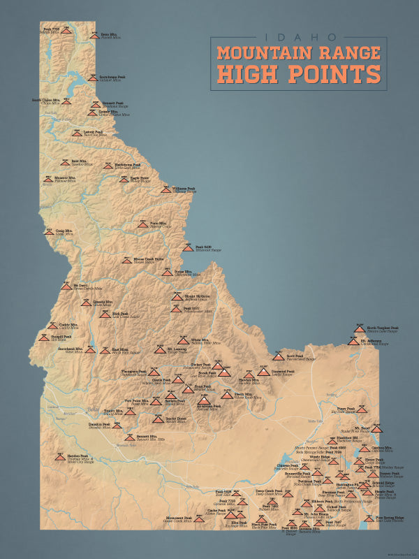 Idaho Mountain Range Highpoints Map Poster - camel & slate blue