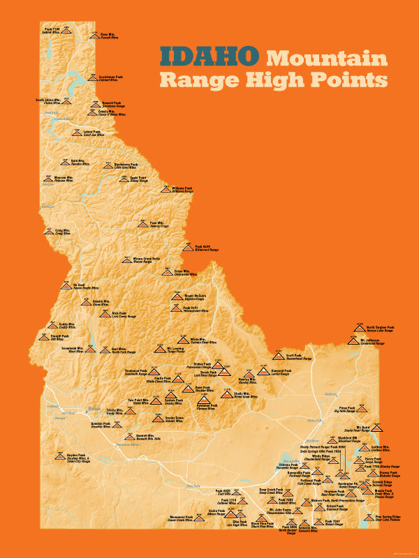 Idaho Mountain Range High Points Map 18x24 Poster Best Maps Ever