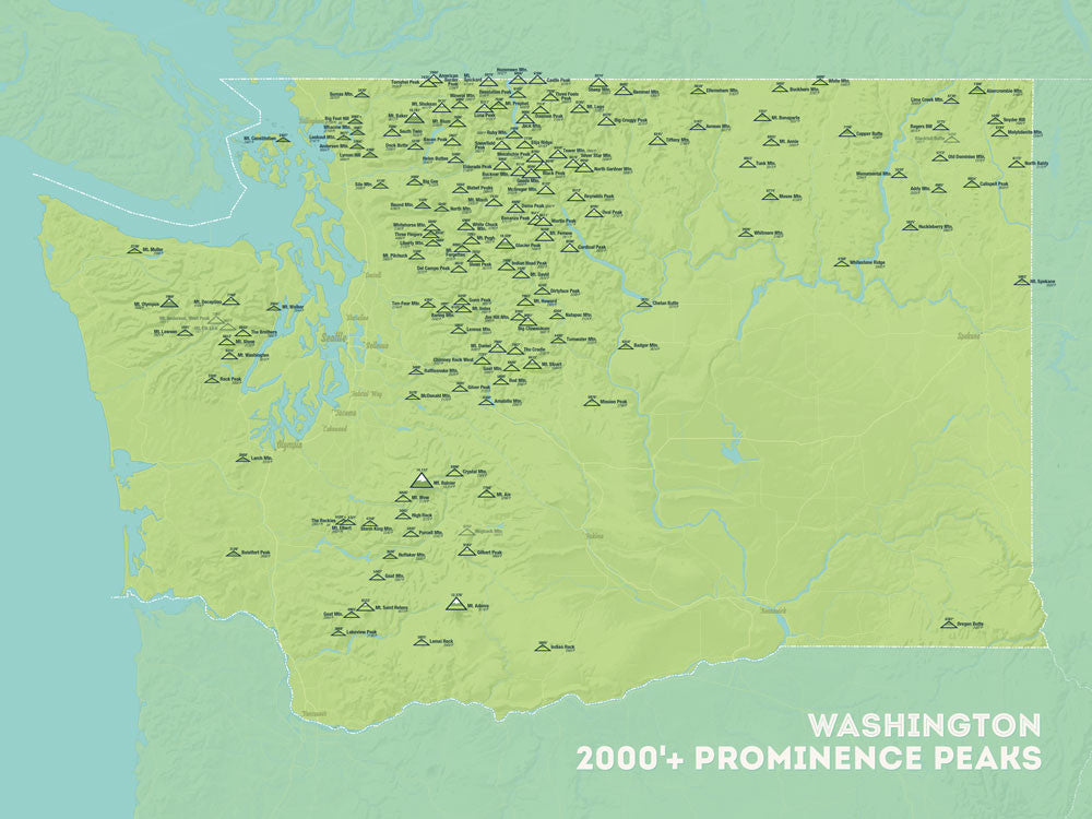 Washington Prominent Peaks map poster - green & aqua