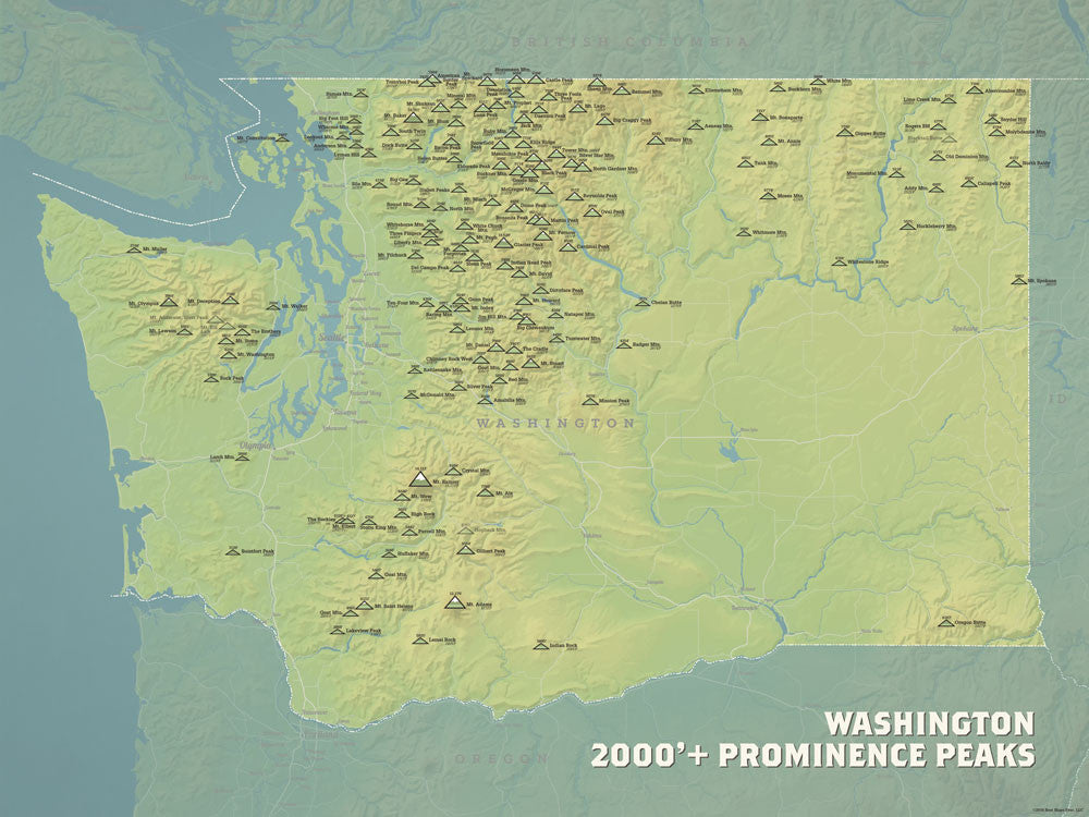 Washington Prominent Peaks map poster - natural earth