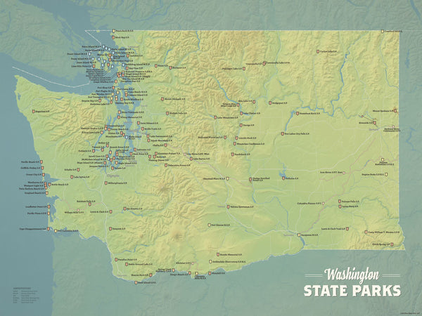 Or State Map.Washington State Parks Map 18x24 Poster Best Maps Ever