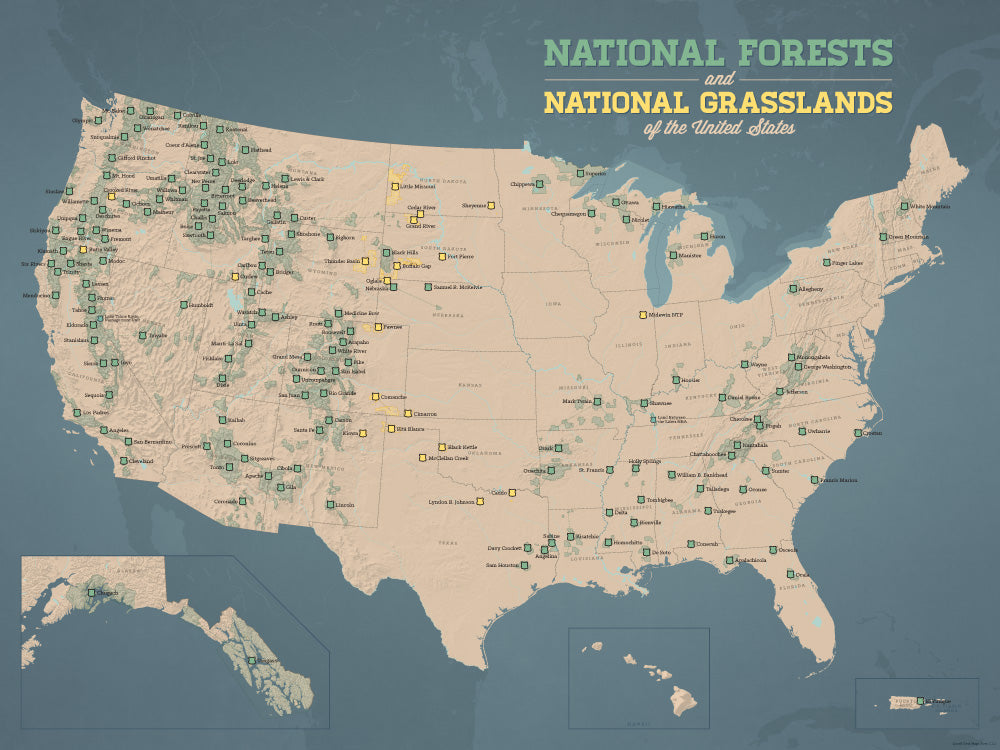 US National Forests Map X Poster Best Maps Ever - Us national forests on a map