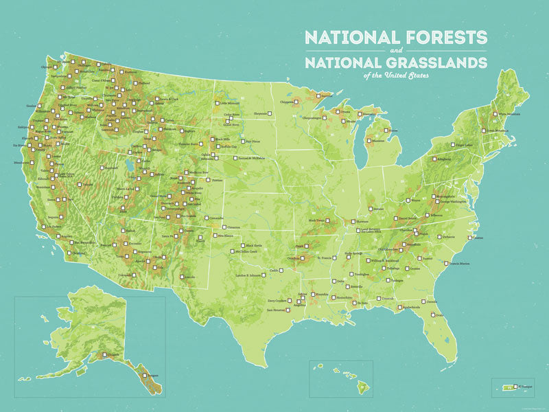 Us National Forests Map US National Forests Map 18x24 Poster   Best Maps Ever