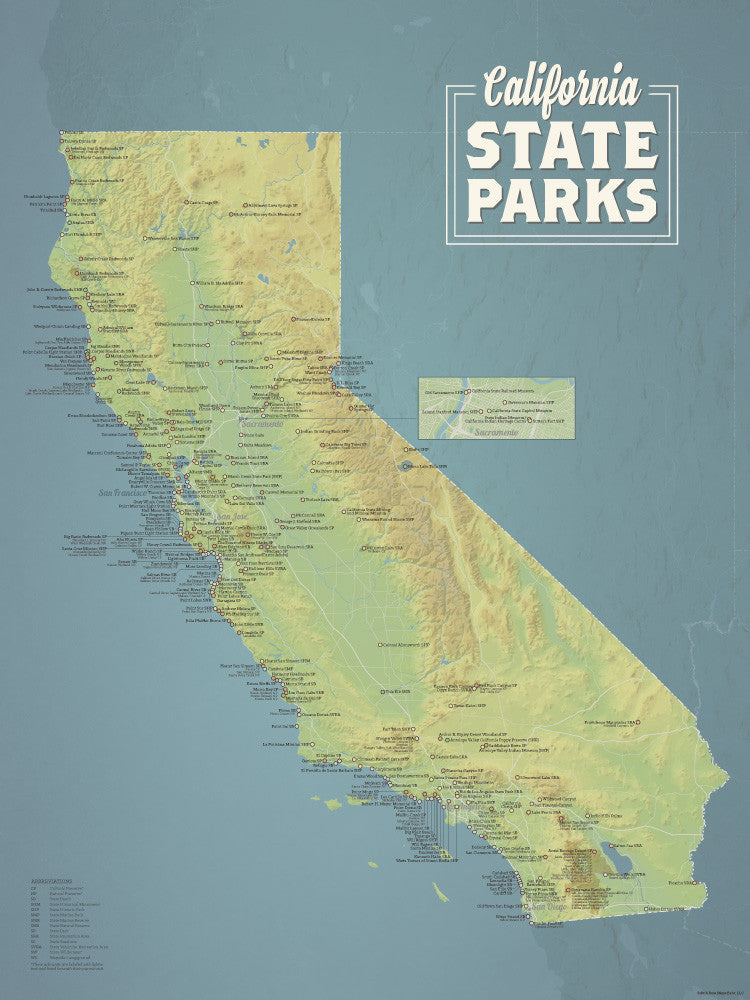 California State Parks Map Poster - natural earth