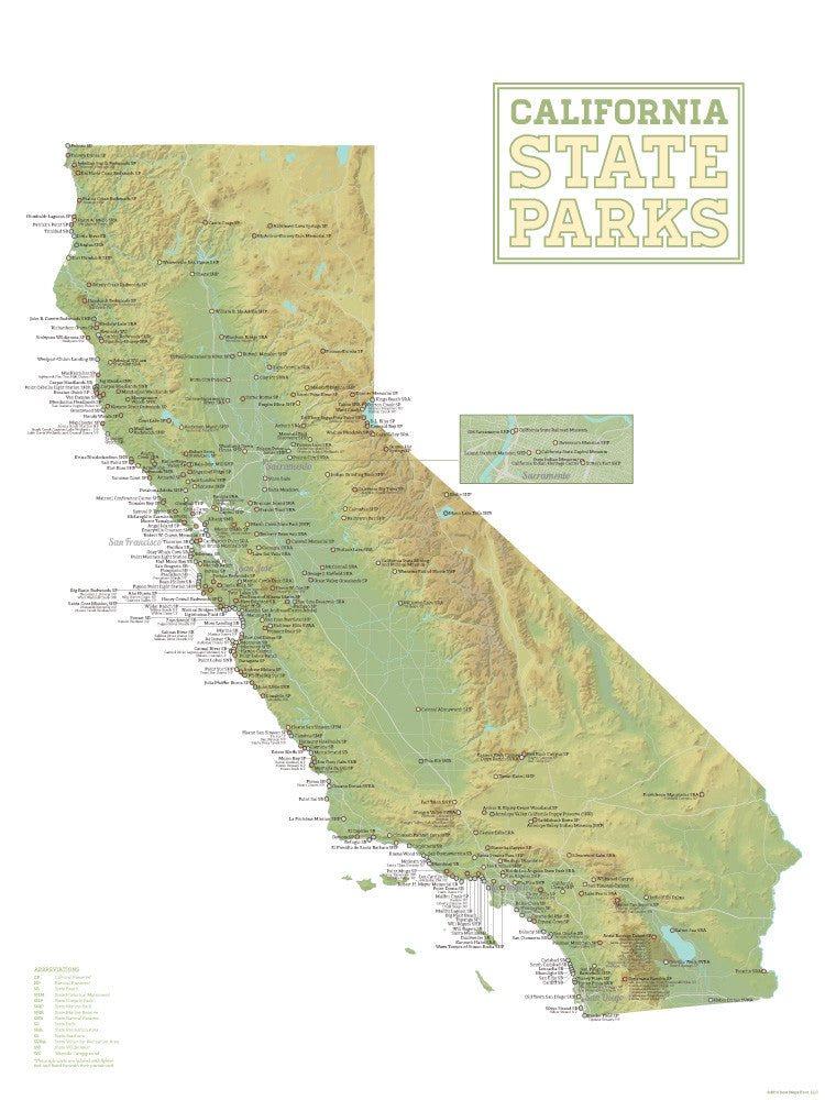 California State Parks Map Poster - green & white