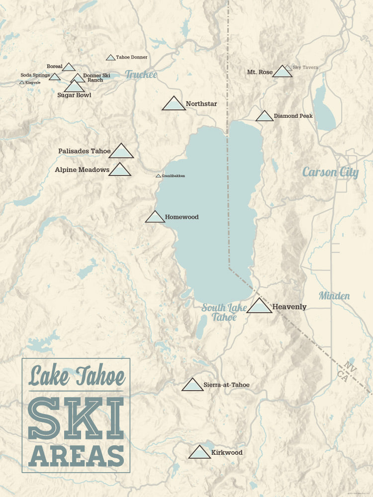 Lake Tahoe Ski Areas Map Poster - beige & blue