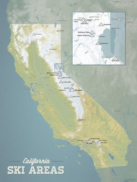 California Ski Resorts Map Poster - natural earth