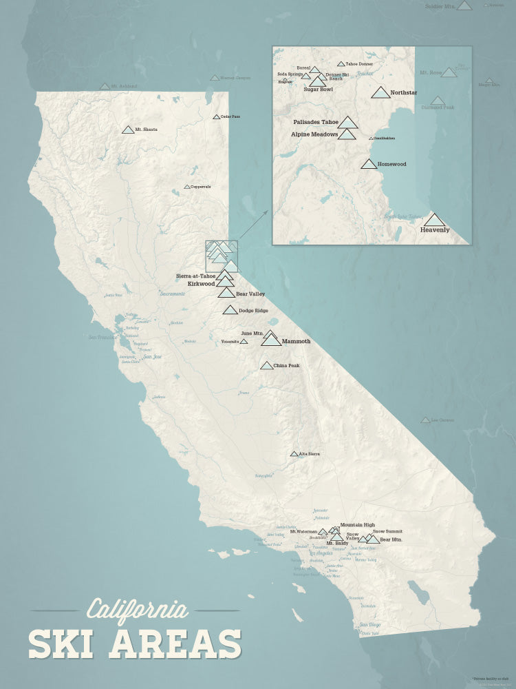 California Ski Resorts Map Poster - beige & opal blue