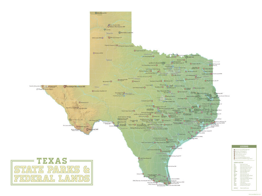 Texas State Parks & Federal Lands Map 18x24 Poster - Best Maps Ever
