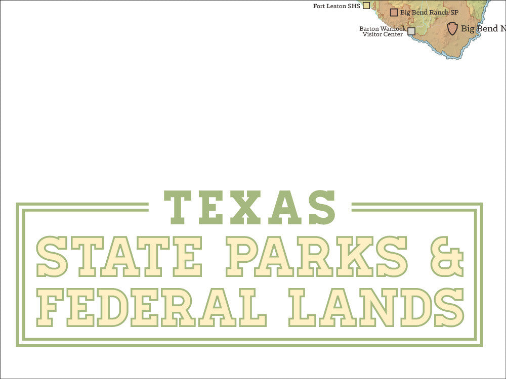 Texas State Parks & Federal Lands map poster - green & white