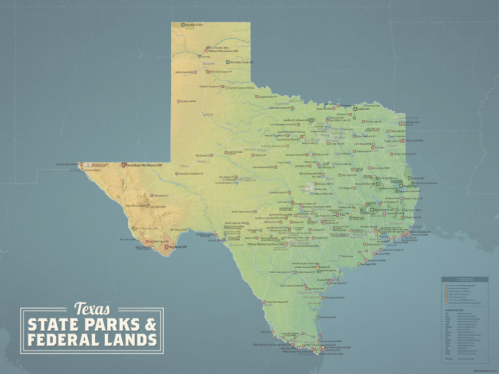 Texas State Parks & Federal Lands map poster - natural earth