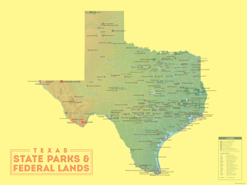 Texas State Parks & Federal Lands map poster - green & yellow