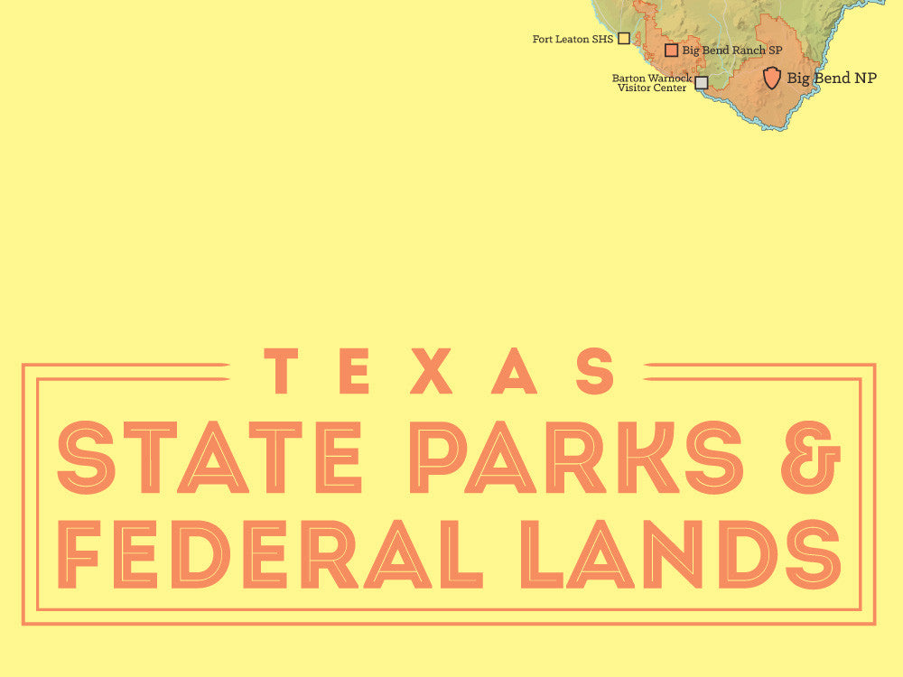 Texas State Parks & Federal Lands Map 18x24 Poster - Best ...