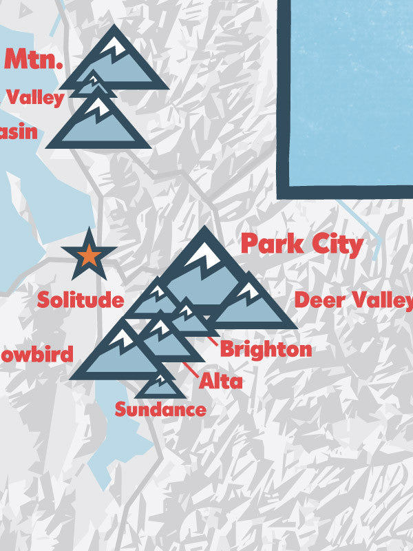 Utah Ski Resorts map poster - white & light blue