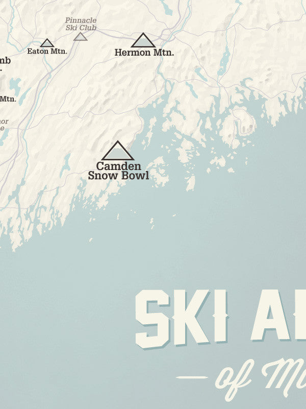 Ski Resorts In Maine Map.Maine Ski Resorts Map Poster Best Maps Ever