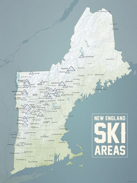 New England Ski Resorts Map Poster - Natural Earth