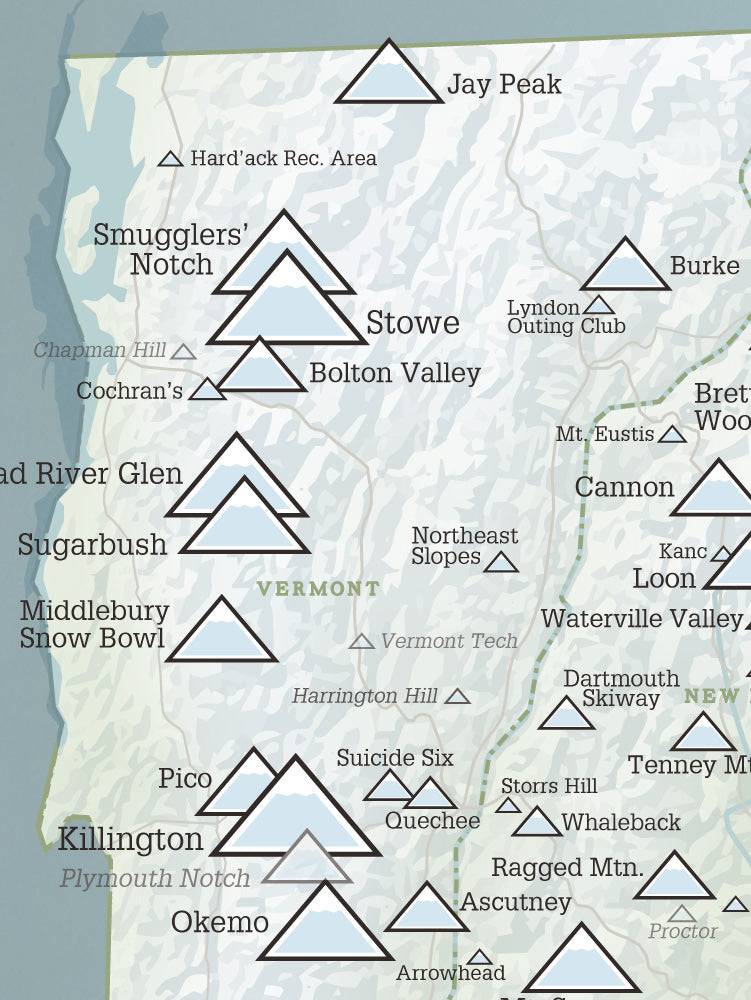 New England Ski Areas Resorts Map Poster - natural earth