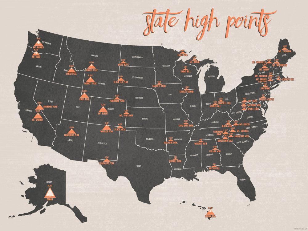 State High Points Highpoints Map Poster - charcoal & beige