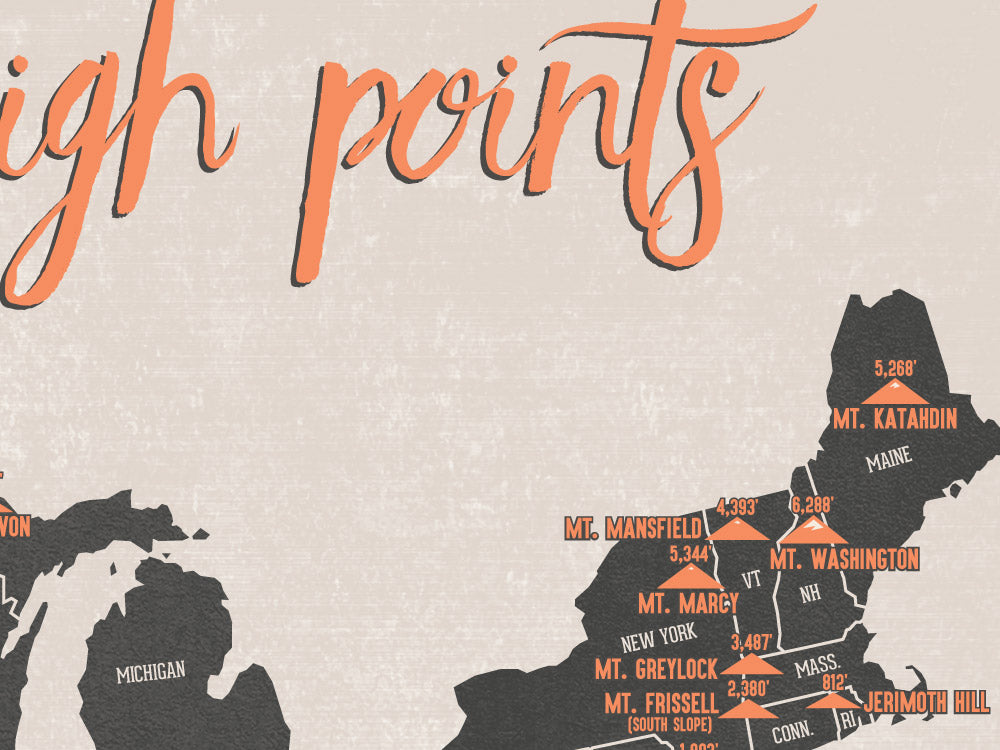US State High Points Map Poster - beige & charcoal