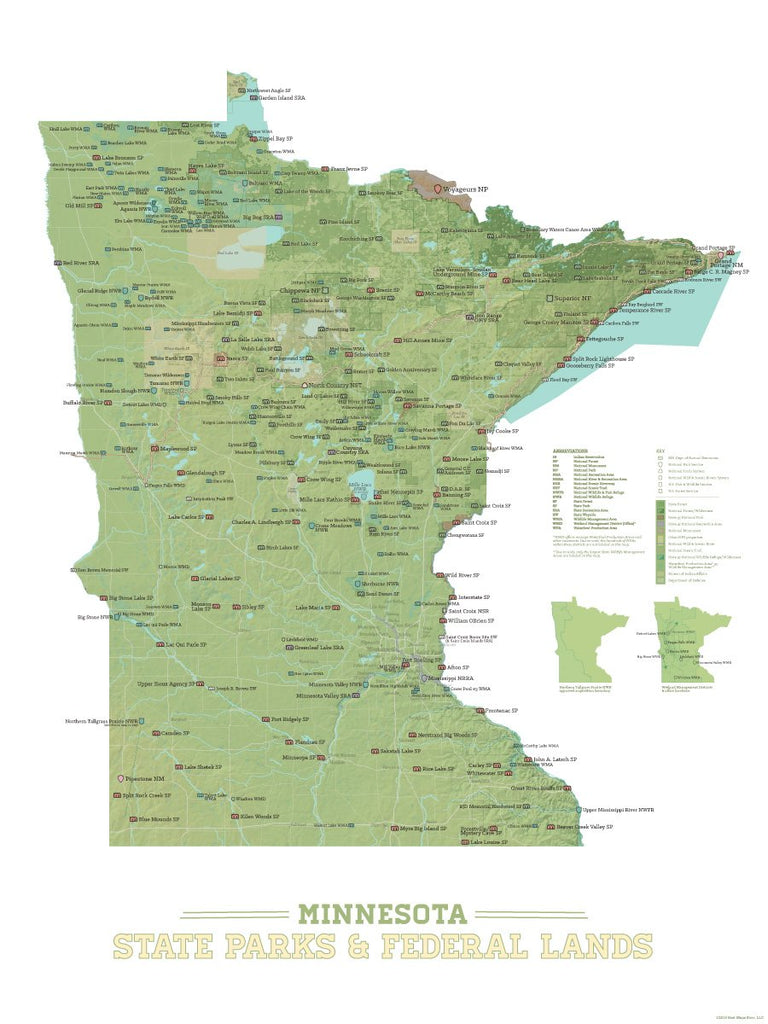 Minnesota State Parks, Federal Land, Public Land Map Poster - green & white