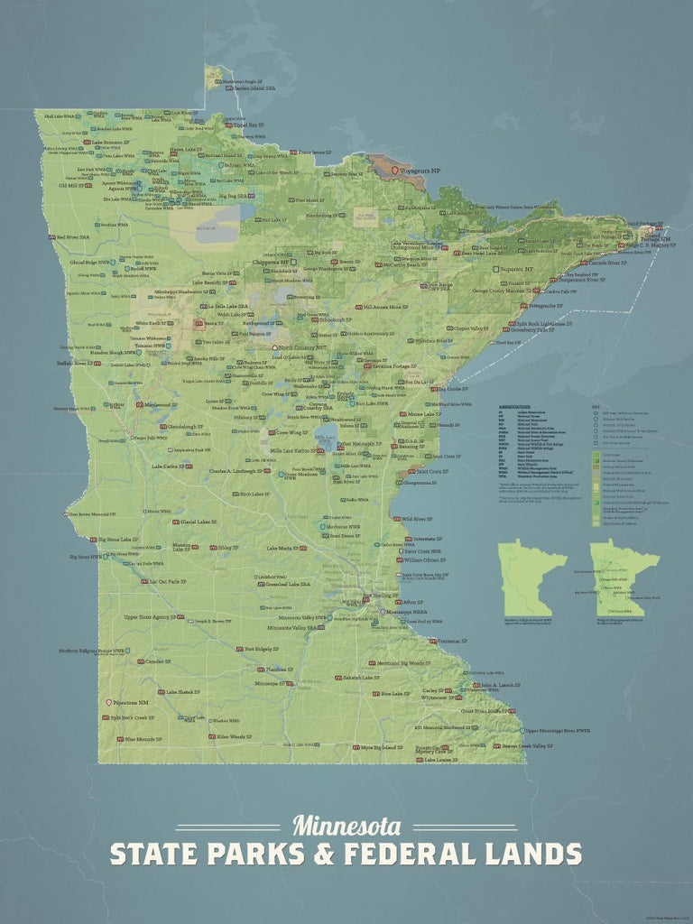 Minnesota State Parks, Federal Land, Public Land Map Poster - natural earth