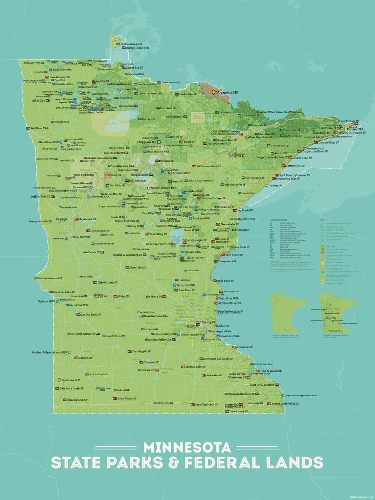 Minnesota State Parks, Federal Land, Public Land Map Poster - green & aqua