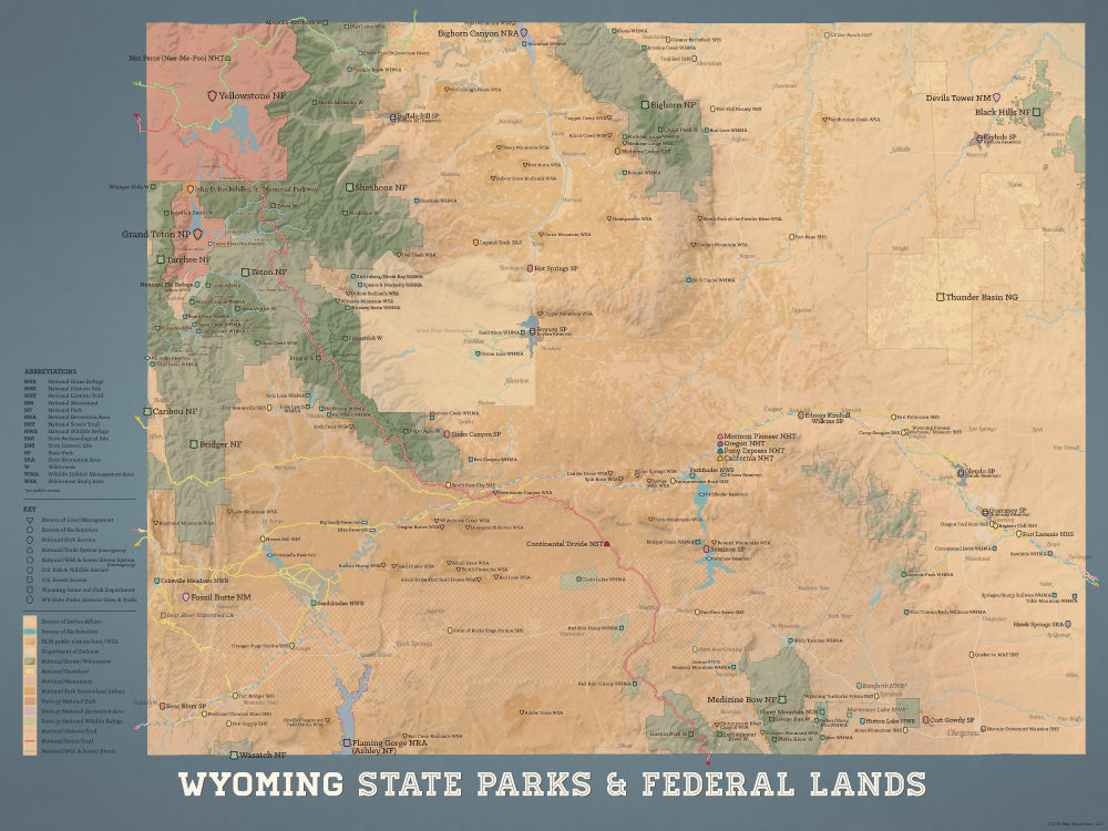 Wyoming State Parks & Federal Lands map poster - camel & slate blue