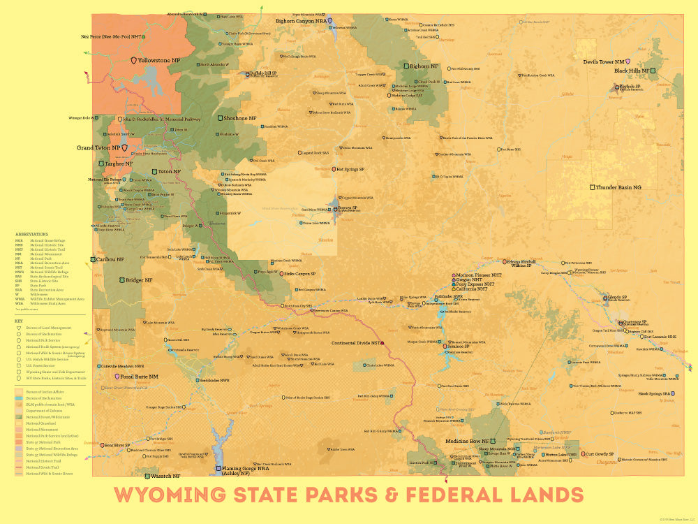 Wyoming State Parks & Federal Lands map poster - orange & yellow