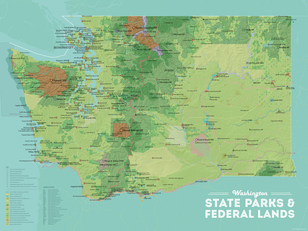 Washington State Parks & Federal Lands Map Poster - green & aqua