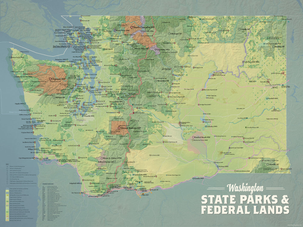 Washington State Parks Map Washington State Parks & Federal Lands Map 18x24 Poster   Best