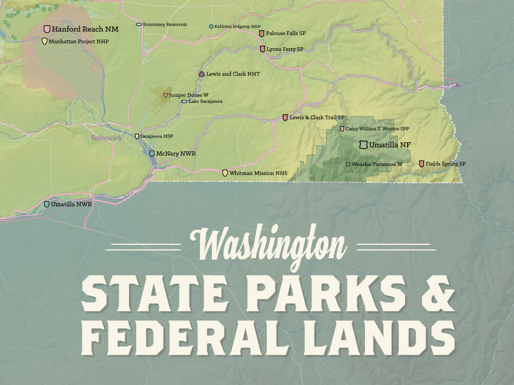 Washington State Parks & Federal Lands Map Poster - natural earth