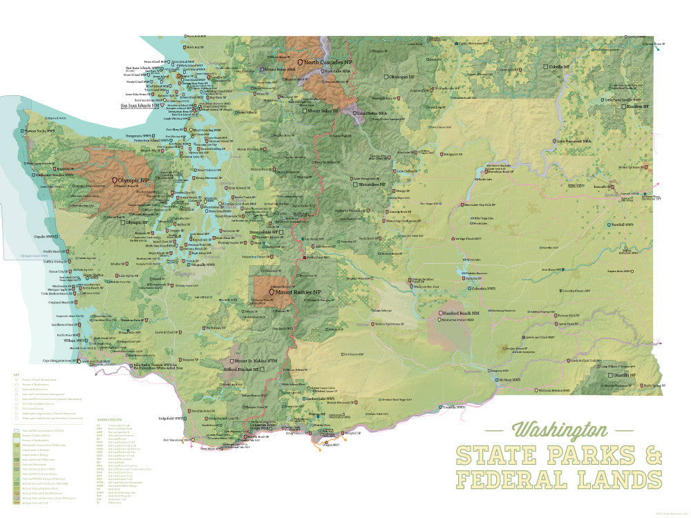 Washington State Parks & Federal Lands Map Poster - green & white