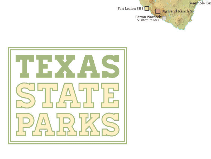 Texas State Parks Map Poster - green & white