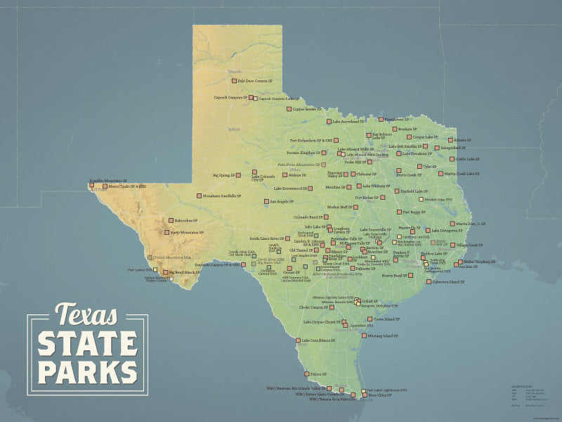 Texas State Parks Map Poster - natural earth