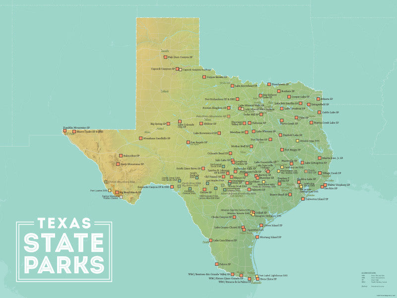 Texas State Parks Map 18x24 Poster