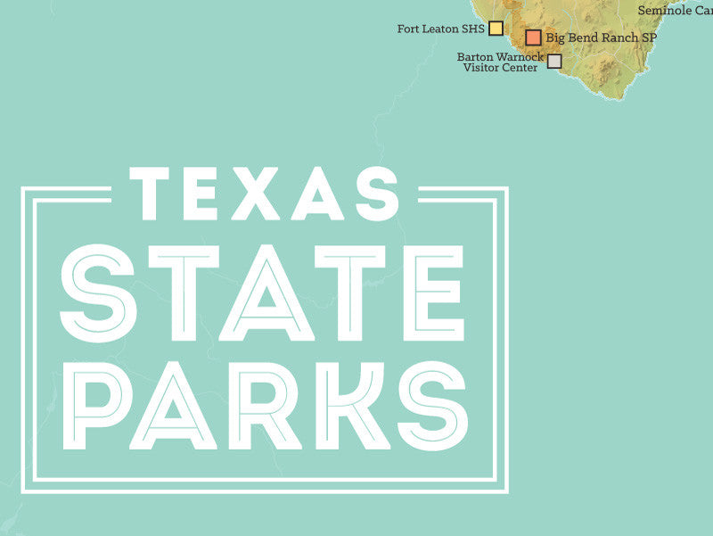 Texas State Parks Map Poster - green & aqua