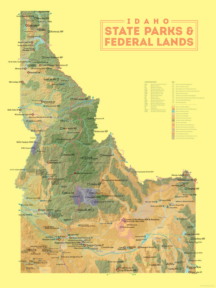 idaho state parks  u0026 federal lands map 18x24 poster