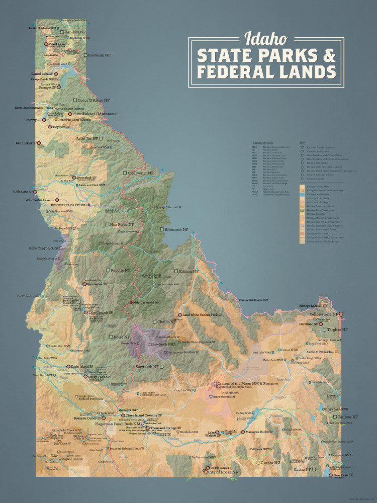 Idaho State Parks & Federal Lands Map Poster - camel & yellow