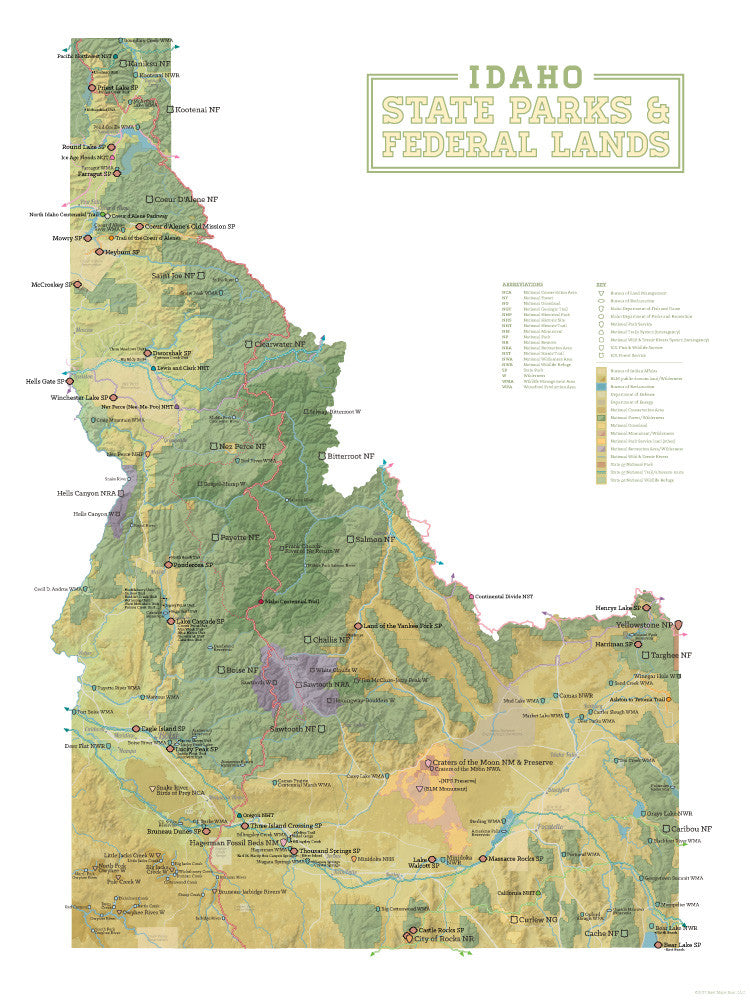 Idaho State Parks Federal Lands Map X Poster Best Maps Ever - Map of idaho state