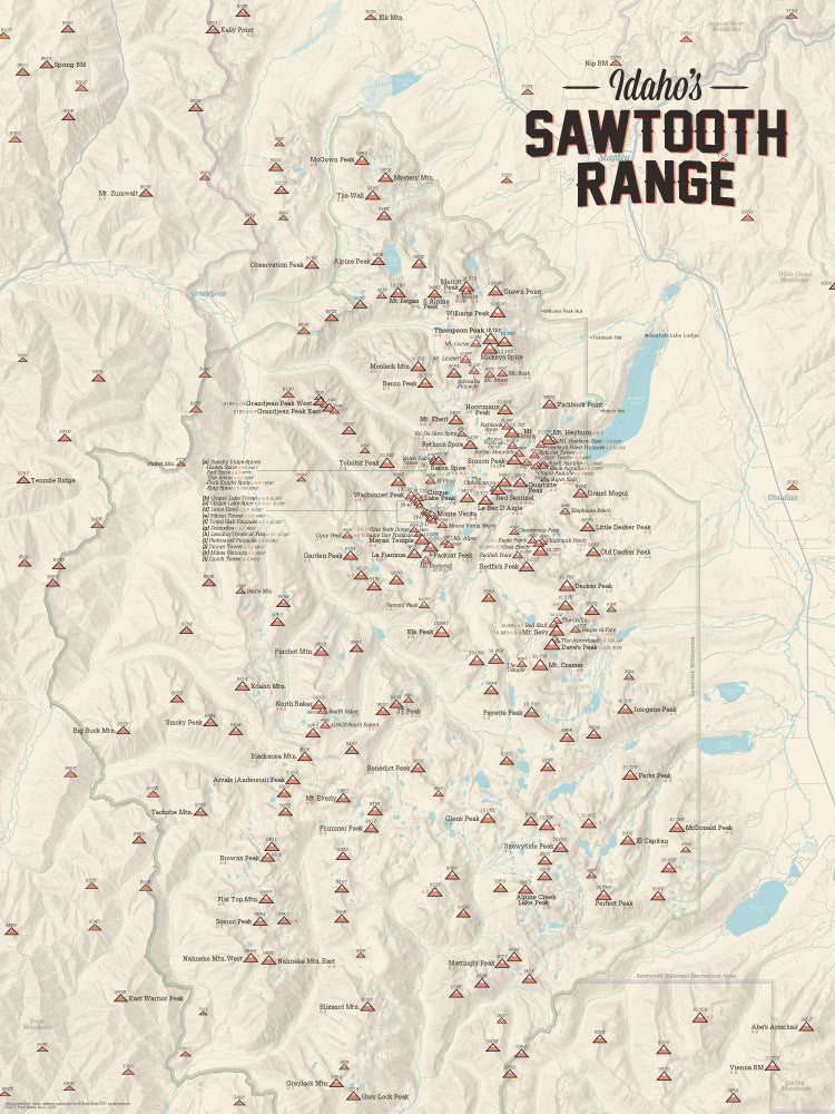 Idaho Sawtooth Range Climbers Map Poster - tan