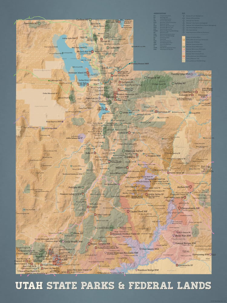 Utah State Parks & Federal Lands map poster - camel & slate blue
