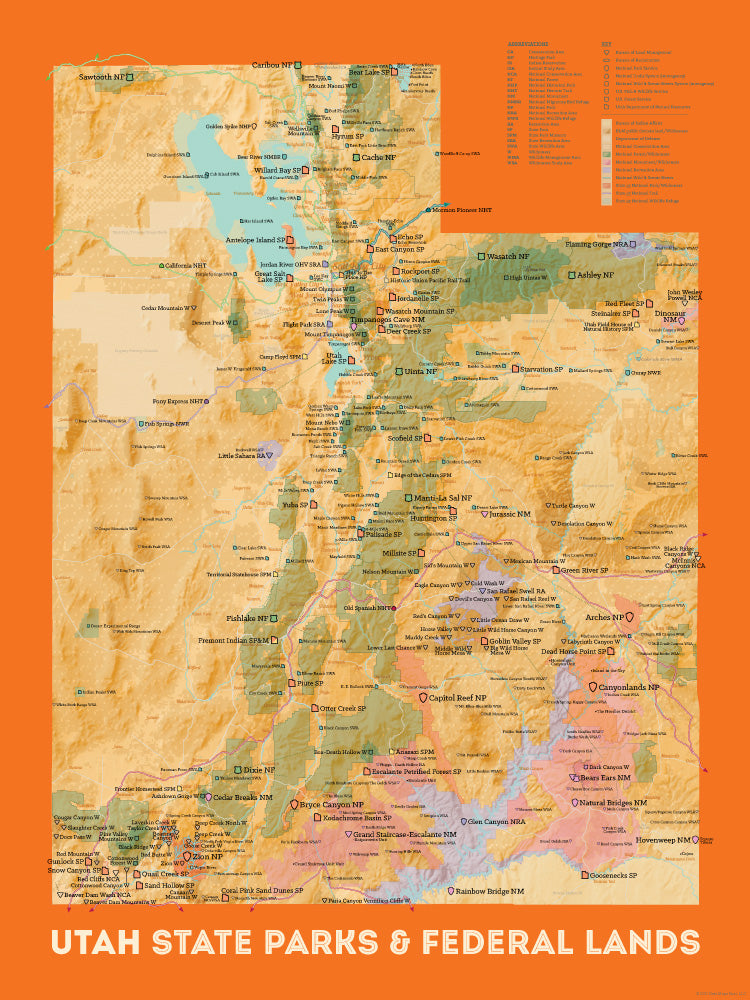 Utah State Parks & Federal Lands map poster - cream & orange