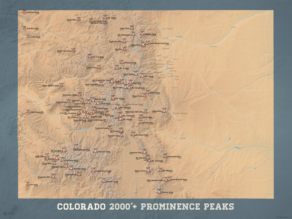 Colorado Prominent 2000' Prominence Peaks Map Poster - camel & slate blue
