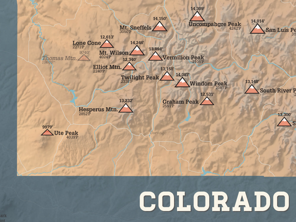 Colorado 2000 Prominence Peaks Map 18x24 Poster