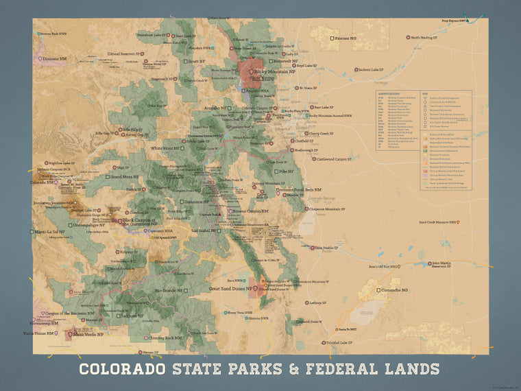 Colorado State Parks & Federal Lands map poster - camel & slate blue
