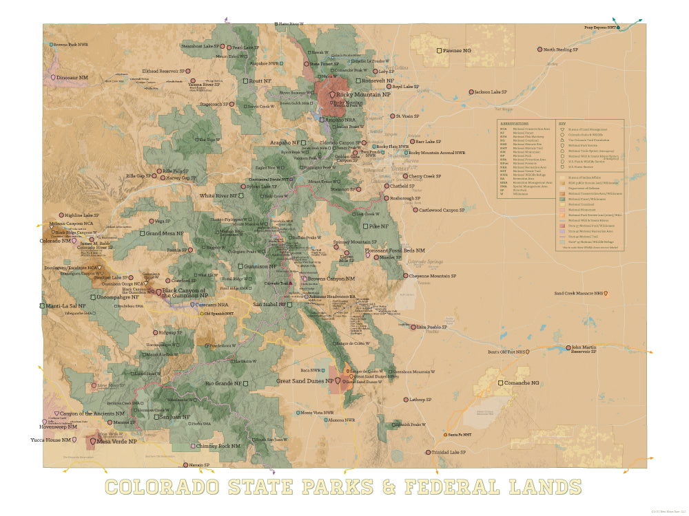 Colorado State Parks & Federal Lands map poster - camel & white