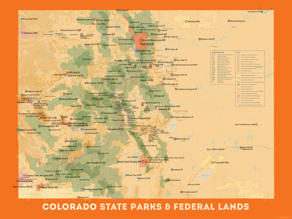 Colorado State Parks & Federal Lands map poster - tan & orange
