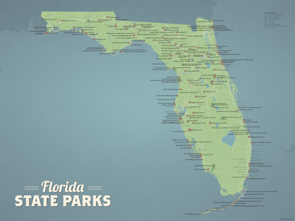 Florida State Parks Map Poster - natural earth